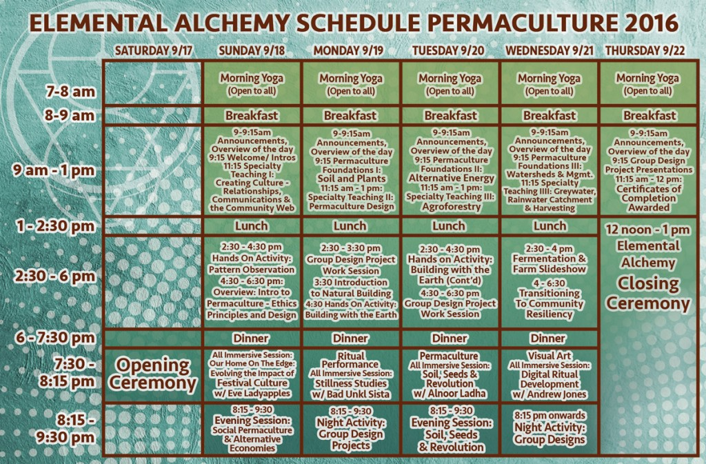 Symbiosis Gathering : Elemental Alchemy Permaculture Schedule