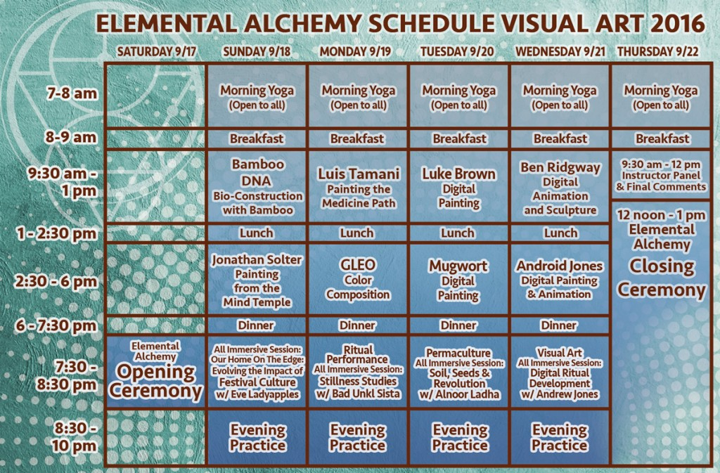 Symbiosis Gathering : Elemental Alchemy Visual Art Schedule