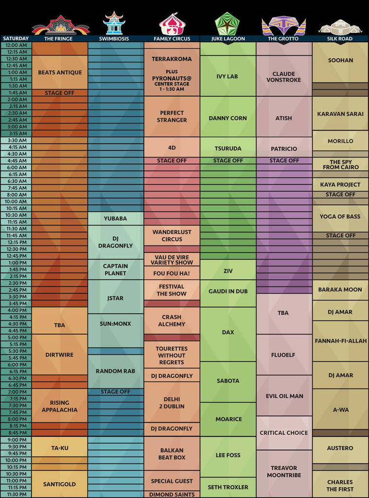 Symbiosis Gathering 2016 Music Schedule Saturday